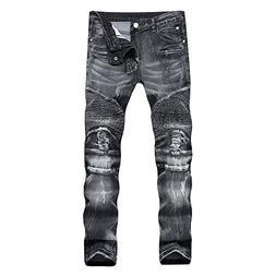 DANT BULUN Men's Ripped Slim Straight Fit Moto Biker Jeans w