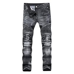 DANT BULUN Men's Ripped Slim Straight Fit Moto Biker Jeans w