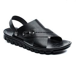 Sunjcs Men's Sandals Casual Leather Beach Fisherman Shoes Op