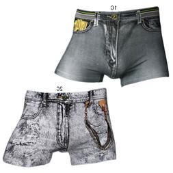 Sexy Men's Denim Jean Print Underpants Briefs Smooth Spandex