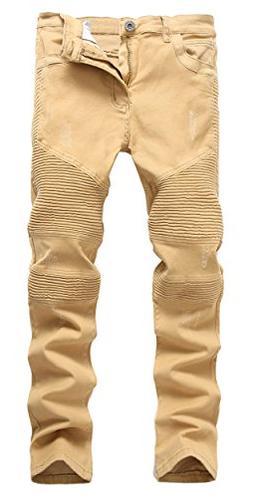 OKilr Pjik Men's Fashion Khaki Skinny Fit Casual Distressed