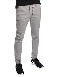 JD Apparel Men's Skinny Fit Harem Joggers Large Light Grey