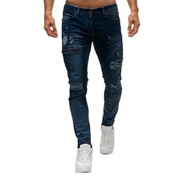WUAI Men's Skinny Fit Jeans Fashion Comfy Holes Stylish Zipp