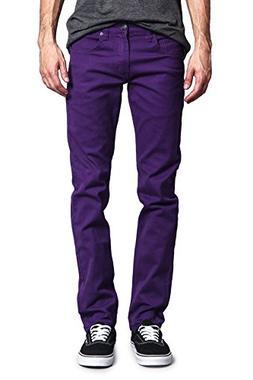 Victorious Men's Skinny Fit Color Stretch Jeans DL937 - PURP