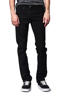 Victorious Men's Skinny Fit Color Stretch Jeans Jet Black 32