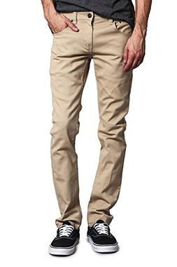 Victorious Men's Skinny Fit Color Stretch Jeans DL937 - KHAK