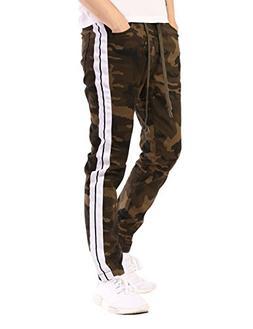 JD Apparel Men's Skinny Fit Twill Jogger Pants White Stripes
