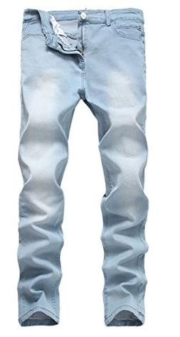Men's Light Blue Skinny Jeans Stretch Washed Slim Fit Straig