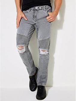 GUESS Men's Skinny Quilted Moto Jean, Adventure Grey Wash De