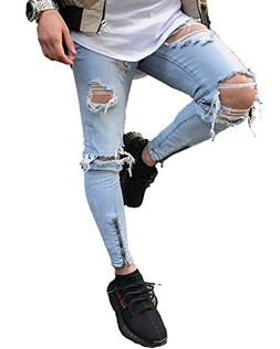 YT couple Men's Skinny Ripped Destroyed Distressed Zipper