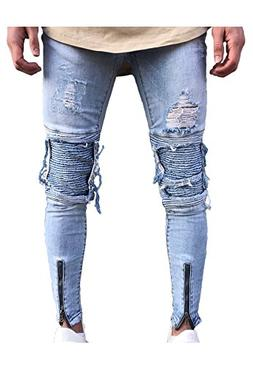 Men's Skinny Slim Fit Straight Ripped Destroyed Distressed