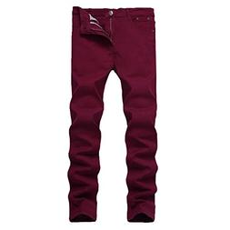 WULFUL Men's Skinny Slim Fit Stretch Straight Leg Jeans/Wine