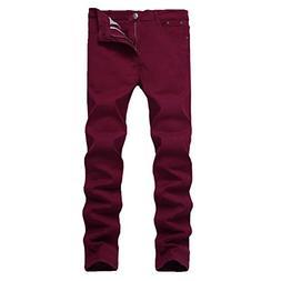 WULFUL Men's Skinny Slim Fit Stretch Straight Leg Jeans/Wine