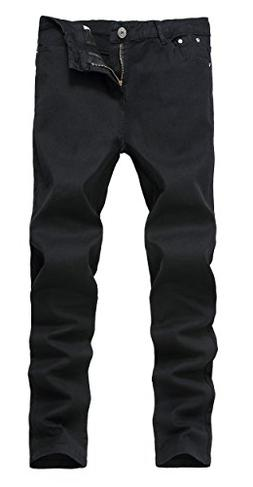Mens Black Skinny Slim Fit Stretch Straight Leg Fashion Jean