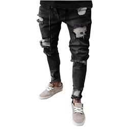 iZHH Mens Skinny Stretch Denim Distressed Ripped Freyed Slim