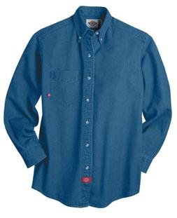 Mens Dickies Long Sleeve Denim Work Shirt L, Stone Washed