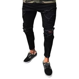 Binmer Men Slim Biker Zipper Denim Jeans Skinny Frayed Pants