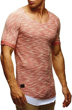 LEIF NELSON Men's Slim Fit Cotton Crewneck T-shirt ,Salmon,X