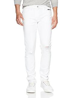 Calvin Klein Men's Slim Fit Denim Jean, Door White Destruct,