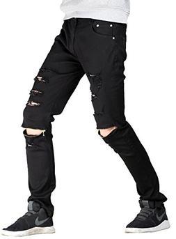 Lavnis Men's Slim Fit Destroyed Jeans with Holes Pencil Pant