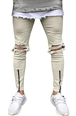 Men's Khaki Slim Fit Destroyed Ripped Skinny Denim Jeans Wit