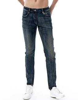 ZLZ Slim Fit Jeans, Men's Younger-Looking Fashionable Colorf