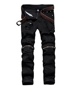 Men's Slim Fit Pencil Pants Vintage Zipper Denim Distresse