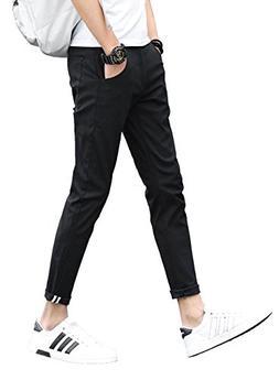Plaid&Plain Men's Slim Fit Stretch Casual Khaki Pants Croppe