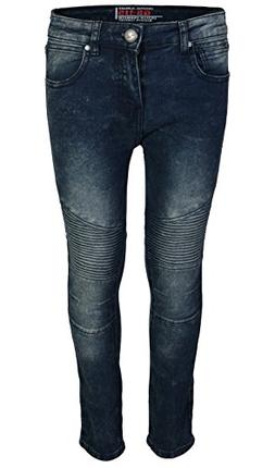 CDB Boys Slim Fit Stretch Fashionable Moto Jeans, Dark Blue,
