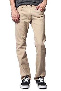 Victorious Mens Slim Fit Colored Stretch Jeans GS21 - Khaki