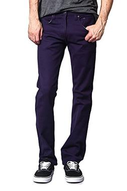 Victorious Mens Slim Fit Colored Stretch Jeans GS21 - EGGPLA
