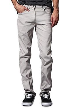 Victorious Mens Slim Fit Colored Stretch Jeans GS21 - GREY -