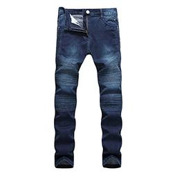 Geurzc Slim Skinny Biker Jeans for Men Deep Blue