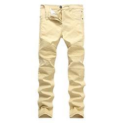 DAVID.ANN Men's Slim Straight Fit Biker Jeans,Khaki,40