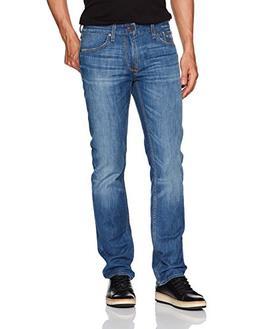 GUESS Men's Slim Straight Jean, Light Worn Wash, 36 32