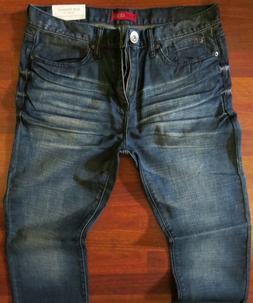 Guess Slim Straight Leg Jeans Men Size 33 X 32 Vintage Distressed Dark Wash
