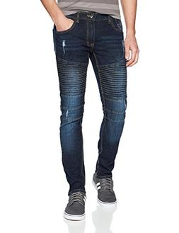 Southpole Men's Slim Straight Stretch Ripped Biker Denim, Da