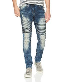 Southpole Men's Super Skinny Biker/Moto Denim Pants, Dark Vi