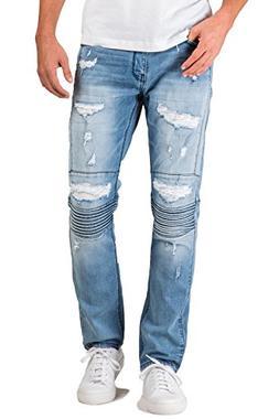 Level 7 Men's Slim Tapered Leg Premium Knit Denim Bleached M