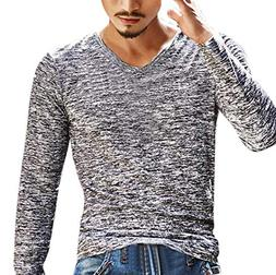 YOcheerful Mens Solid Sexy V Neck Long Sleeve Tee T Shirt To