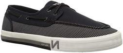 Nautica Men's Spinnaker Boat Shoe, Black Stripe Denim, 9 Med