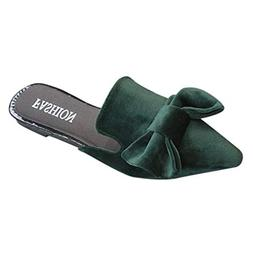 ASERTYL Spring Women's Sequin Slippers Bow Casual Shoes Flat