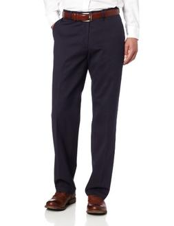 Lee Men's Stain Resistant Relaxed Fit Flat Front Pant, Navy,