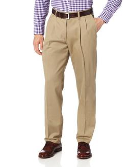 Lee Men's Stain Resistant Relaxed Fit Pleated Pant, Dark Kha