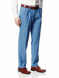 LEE Men's Stain Resistant Relaxed Fit Pleated Denim Pant, St
