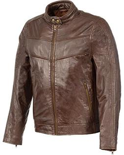 Milwaukee Leather Men's Stand up Collar Jacket Brown Medium