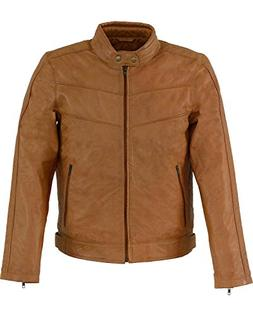 Milwaukee Leather Men's Stand up Collar Jacket Tan X-Large