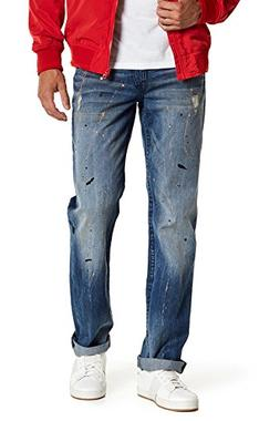 True Religion Men's Straight Flap Distressed Paint Jeans-28