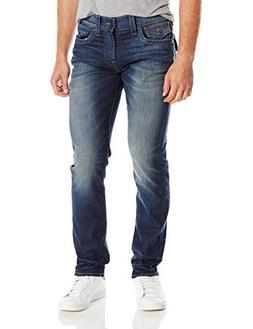 Men's True Religion 'Geno' Straight Leg Jeans, Size 38 - Blu
