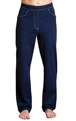 PajamaJeans Men's Straight Leg Knit Denim Dark Blue Jeans, I